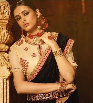 Black Silk Party Wear Saree With Beige Blouse