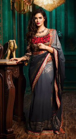 Grey,Georgette,Designer party wear saree