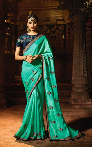 Aqua Blue Party Wear Saree With Dark Blue Blouse