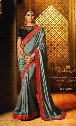 Grey C*P Party Wear Saree With Black Blouse