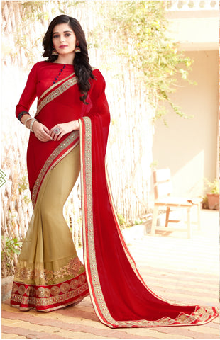 Red Color Party Wear Saree With Red Blouse