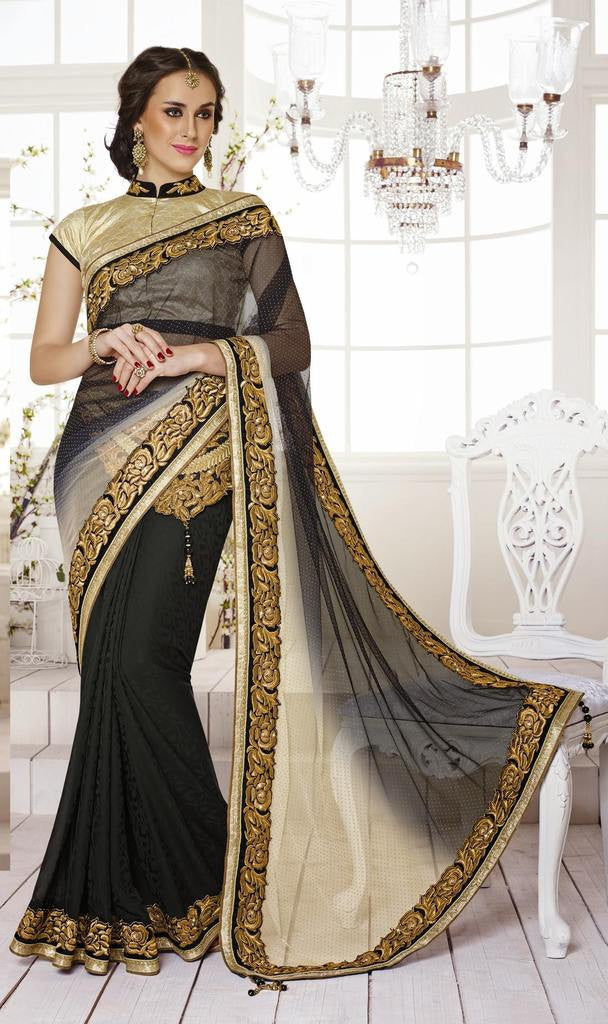 f5c0fba644 Beige , Red,Art Bhagalpuri Silk , Net,Designer wedding saree with heavy  embroidery