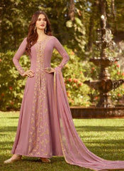 Pink Georgette Party Wear Anarkali Dress With Pink Dupatta