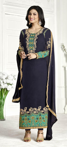 Blue,Georgette,Straight designer party wear suits