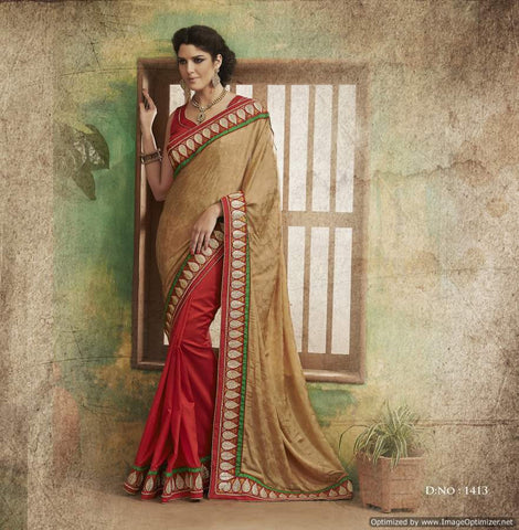 Golden Jacquard Saree with hand work and Embroidery