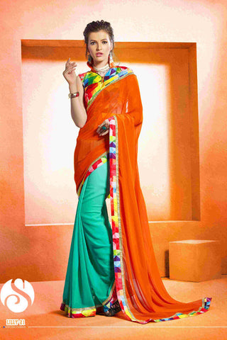 Designer Turquoise and orange saree with printed blouse for women