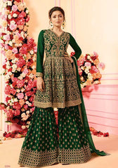 Green Georgette Sharara Suit With Green Dupatta