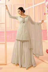 White Net Sharara Salwar Kameez With White Dupatta