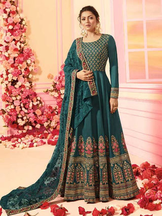 Cyan Chanderi Party Wear Fusion Style Anarkali Suit With Cyan Dupatta