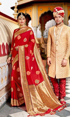 Red Fancy Fabric Bridal Saree With Red Blouse