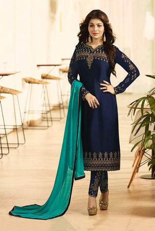 Blue Georgette Straight Salwar Suit With  Dupatta
