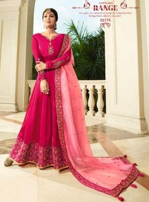 Pink Georgette Party Wear  Anarkali Suit With Pink Dupatta