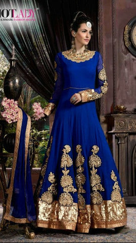 Blue ,Georgette,Anarkali designer suits