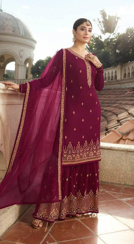 Maroon Georgette Sharara Suit With  Dupatta