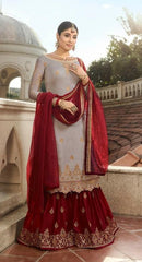 Grey Georgette Sharara Salwar Suit With  Dupatta