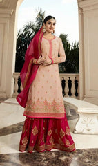 Pink Georgette Sharara Salwar Kameez With  Dupatta