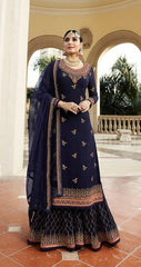 Blue Georgette Sharara Salwar Suit With  Dupatta