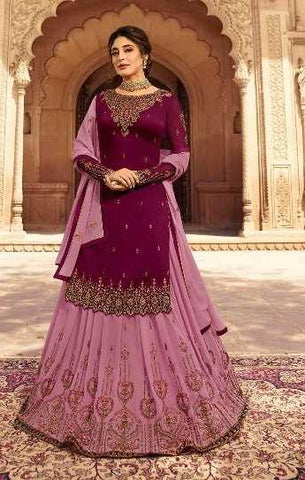 Purple Satin Georgette Party Wear Lehenga With Purple Choli And Purple Dupatta