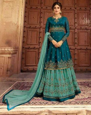 Cyan Satin Georgette Party Wear Lehenga With Cyan Choli And Blue Dupatta