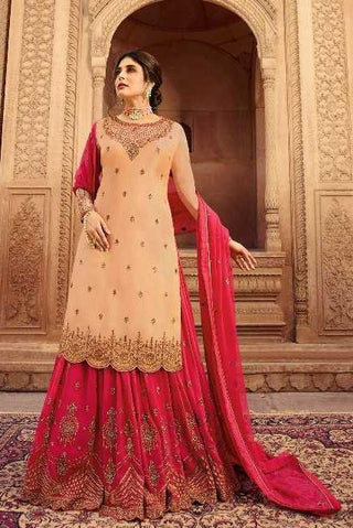 Peach Satin Georgette Party Wear Lehenga With Pink Choli And Pink Dupatta