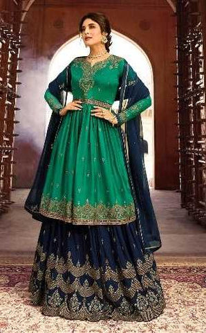 Green Satin Georgette Party Wear Lehenga With Blue Choli And Blue Dupatta