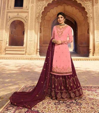 Pink Satin Georgette Party Wear Lehenga With Maroon Choli And Maroon Dupatta