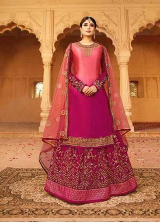 Pink Satin Georgette Party Wear Lehenga With Pink Choli And Pink Dupatta