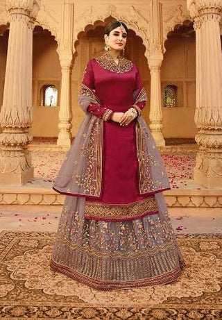 Maroon Satin Georgette Party Wear Lehenga With Grey Choli And Grey Dupatta