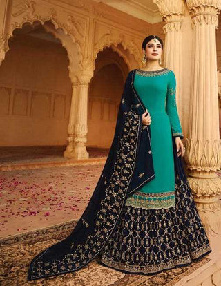 Blue Satin Georgette Party Wear Lehenga With Blue Choli And Blue Dupatta