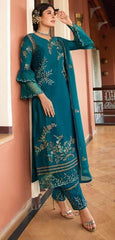 Blue Satin Georgette Party Wear Suit With  Dupatta