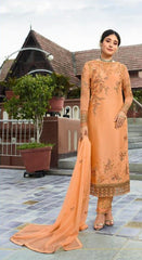 Peach Satin Georgette Party Wear Suit With  Dupatta