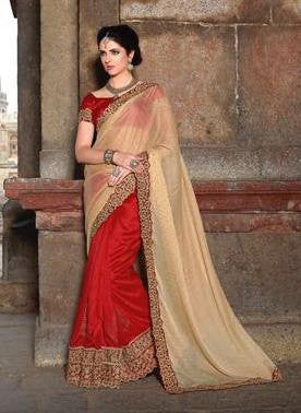 Beige , Red,Brasso,Heavy designer party wear saree