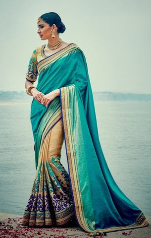 Blue , Beige,Georgette,Heavy designer saree