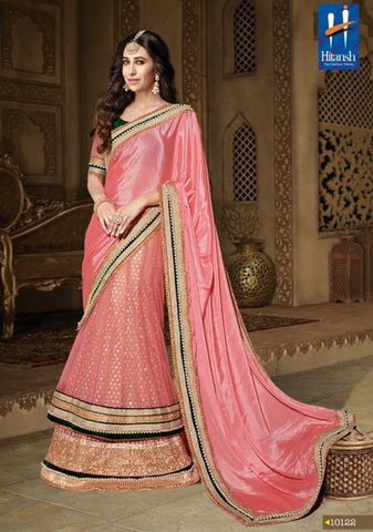 Pink,Chiffon,Heavy designer wedding wear saree