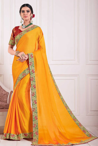 Yellow Chiffon Party Wear Saree With Red Blouse