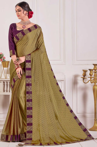 Olive Chiffon Party Wear Saree With Purple Blouse