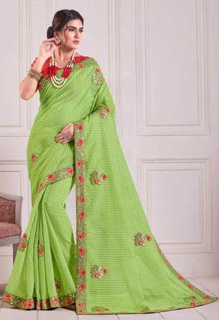 Green Cotton Party Wear Saree With Red Blouse
