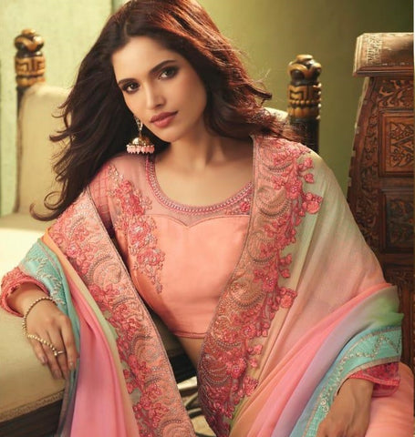 Pink Luxury Silk Party Wear Saree With Peach Blouse