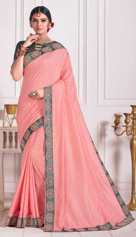 Pink Poly Silk Party Wear Saree With Grey Blouse