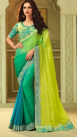Green Luxury Silk Party Wear Saree With Green Blouse