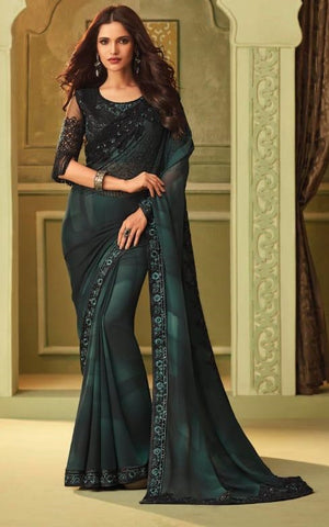 Blue Tubelight Georgette Party Wear Saree With Black Blouse