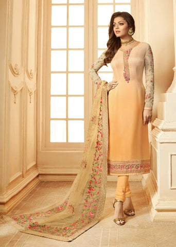 Orange Viscose Party Wear  Salwar Suit With  Dupatta