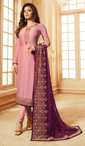 Pink Georgette Party Wear  Salwar Kameez With  Dupatta