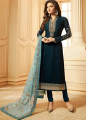 Dark Blue Georgette Party Wear  Salwar Suit With  Dupatta