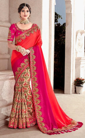 Pink Orange Silk Party Wear  Saree With Pink Blouse
