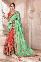 Green Orange Silk Party Wear  Saree With Orange Blouse