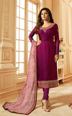 Purple Georgette Party Wear  Salwar Kameez With  Dupatta