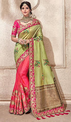 Green Pink Silk Party Wear  Saree With Pink Blouse
