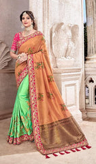 Orange Green Silk Party Wear  Saree With Pink Blouse