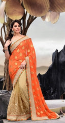 Beige and Orange half and half saree with Heavy zari work